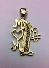 """10K REAL YELLOW GOLD Gold """"#1 MOM"""" Pendant 1.5g"""