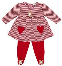 NEW Le Top Baby Girl Christmas Deer Stripe Dress & Footed Pants Set 3 Months NWT