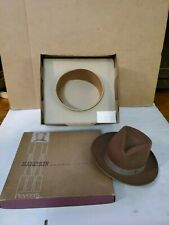 Brown Penny's Marathon Men's Vintage Hat Grey Pleated Band w Original Box size 7
