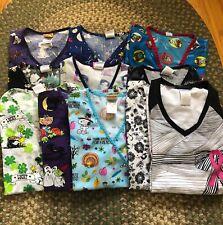 Lot of 11 Size Xs Womens Uniform Medical Scrub Tops Various Brands Peanuts