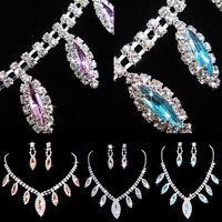 Women's Rhinestone Waterdrop Pendant Necklace Earrings Bride Jewelry Set Cheap