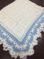 Crochet Sweet Dreams Baby Blanket Afghan White And A Hint Of Blue Help a Puppy!
