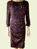 New Ladies KALIKO Purple Spot 3/4 Sleeve Vintage Party Shift Dress Size 8 - 20