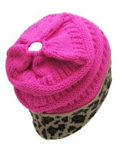 K&B Soft Stretch Knit Bun Ponytail Beanie Hat Cheetah Leopard Pink Black Blue