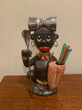"1960's Vintage African Zulu Warrior Ceramic 11"" Tall Bar Tool Tiki Barware"