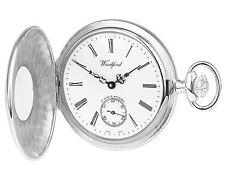 Pocket Watch Polished Sterling Silver Half Hunter - Woodford 1004
