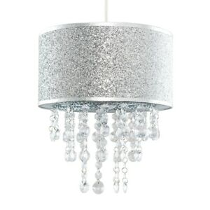 Modern Ceiling Pendant Shade Silver Glitter With Clear Acrylic Droplets LED Bulb
