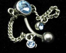 Stainless Steel Navel Belly Jewelry Piercing Light Blue Bezel Set Rhinestone