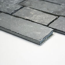 Fliesen Mosaik Naturstein Schiefer Anthrazid Boden Bad Küche WC NEU 10 Mm  #337