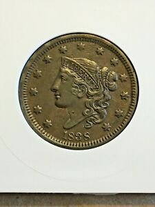 1838 N-1 AU  Beautiful,Rare Coronet Head Large Cent Coin 1c PH32
