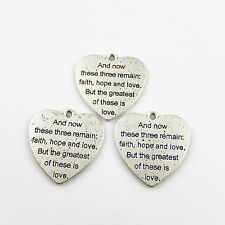 16pcs/pack Antique Silver Carved Words Heart Alloy Pendants Charms Ctafts 52709
