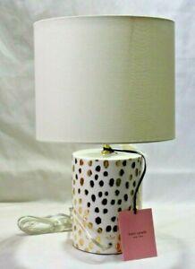 Kate Spade Flamingo Gold Dot Ceramic Table Lamp and Shade New