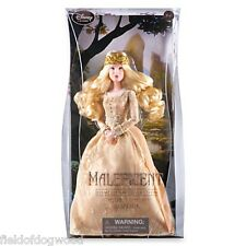 "DISNEY STORE MALEFICENT FILM AURORA BRIAR ROSE COLLECTOR 12"" DOLL  Gold NEW"