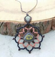 Macrame Reiki Healing Necklace Aventurine Chakra Stone Handmade Pendant Jewelry