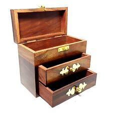 WOODEN 2 DRAW JEWELLERY BOX - BRASS PENTAGRAM DESIGN