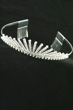 NEW Silver plated crystal sunray aliceband tiara wedding boxed prom bride