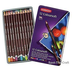 Derwent Coloursoft Soft Color 12 Pencil Set in Tin Storage Box 0701026