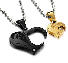 MENDINO Men's Stainless Steel Pendant Chain Necklace Couples Love Heart Puzzle