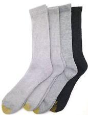 $45 Gold Toe New Men'S 4-Pairs Pack Cotton Gray Sport Crew Socks Shoe Size 6-12
