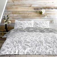 Grey Duvet Covers White Vintage Birds Cotton Blend Quilt Cover Bedding Sets