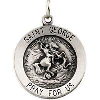 "MRT St George Sterling Silver Medal Saint Of England 3/4"" w Chain Boxed Gift"