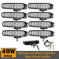8pcs 6 inch Off-Road 40W LED Flood Spot Combo Working Driving Light Fog 4X4 Lamp