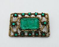 Embossed Green Textured Glass Gold Tone Large Brooch with Cabochons
