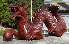 Fantastischer Glücks Drache mit Kugel Holz DRAGON FENG SHUI HDra105