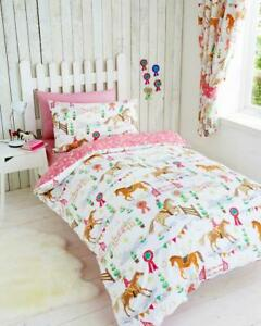 Single duvet set girls bedding horse jumping childrens quilt cover pillow case