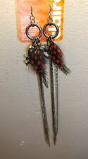 Feather skull earrings fashion jewelry day of dead jewelry edgy chain new dangle