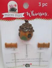 Fairy Garden Micro Mini Whimsies On metal picks Brown Nut House & 2 Fence Pieces