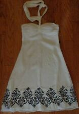 WHITE HOUSE BLACK MARKET White Chiffon Strapless Dress Tie Neck Womens 0 Wedding