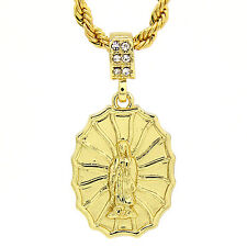 Men' and Lady Gold Plated Round maria guadalupe Pendant 4mm Rope Necklace Chain