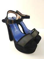 Jeffery Campbell Black Suede Mesh Buckle Platform Heel Sandal Womens Size EUR37