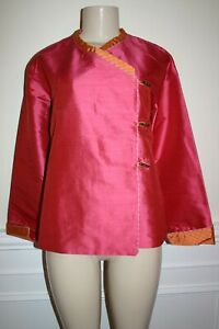 KAI MIRA Sz S Pink Orange Plaid Trim 100% Silk Asian Toggle Blouse Top Boutique