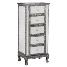 BLACK SILVER EMBOSSED MIRRORED GLASS TALL BOY CHEST DRAWERS (T4306) BALI