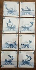 8 ANTIQUE DUTCH DELFT BLUE SEA CREATURE FISH TILES SPIDER CORNERS - NEVER USED
