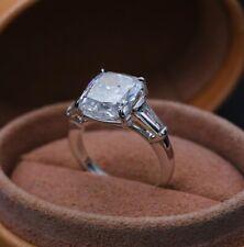 Diamond Engagement Wedding 14K White Gold Ring Mid Century Ring 4 Ct Cushion Cut