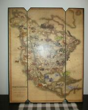 "Art Wall Map Animals of North America Hayden & Dallen Lambson wood 20"" X 16"" NEW"