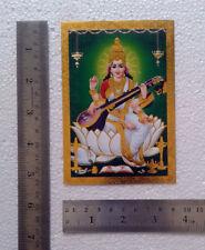 Poster - 3.5x5 Inch, Saraswati Maa, Golden Effect Print Paper