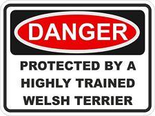 Dog Breed WELSH TERRIER Danger Sticker Pet For Bumper Locker Car Door