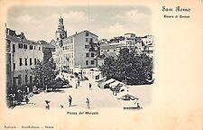 12) SAN REMO (IMPERIA) PIAZZA DEL MERCATO, ANIMATA, BANCARELLE.