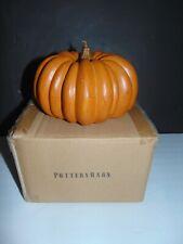 "Pottery Barn Medium Orange Halloween Pumpkin Candle 4.7"" Wax in Box Unburned"