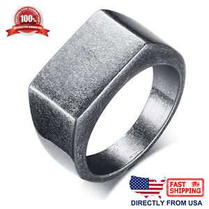 Men's Stainless Steel Retro Signet Ring