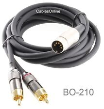 CablesOnline 10ft 5-Pin DIN to 2-RCA Audio Cable, BO-210