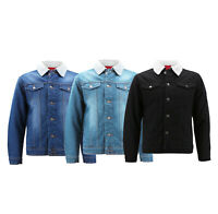 Red Label Men's Classic Sherpa Lined Cotton Denim Jean Button Up Trucker Jacket