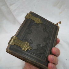 nice Civil War era album / book tintype or CDV images / leather w/ brass hinges