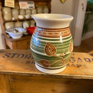 Vintage Dragon Pottery Rhayader Wales – Patterned Shaped Vase – Retro!