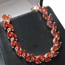 Marquise Red Ruby Tennis Bracelet Women Jewelry 14K Rose Gold Plated Nickel Free