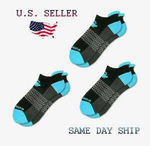 3-Pack Bombas Ankle Socks - Electric Blue / Black - Women's Medium